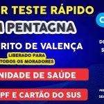 Teste rápido em Pentagna, amanhã, dia 09/04
