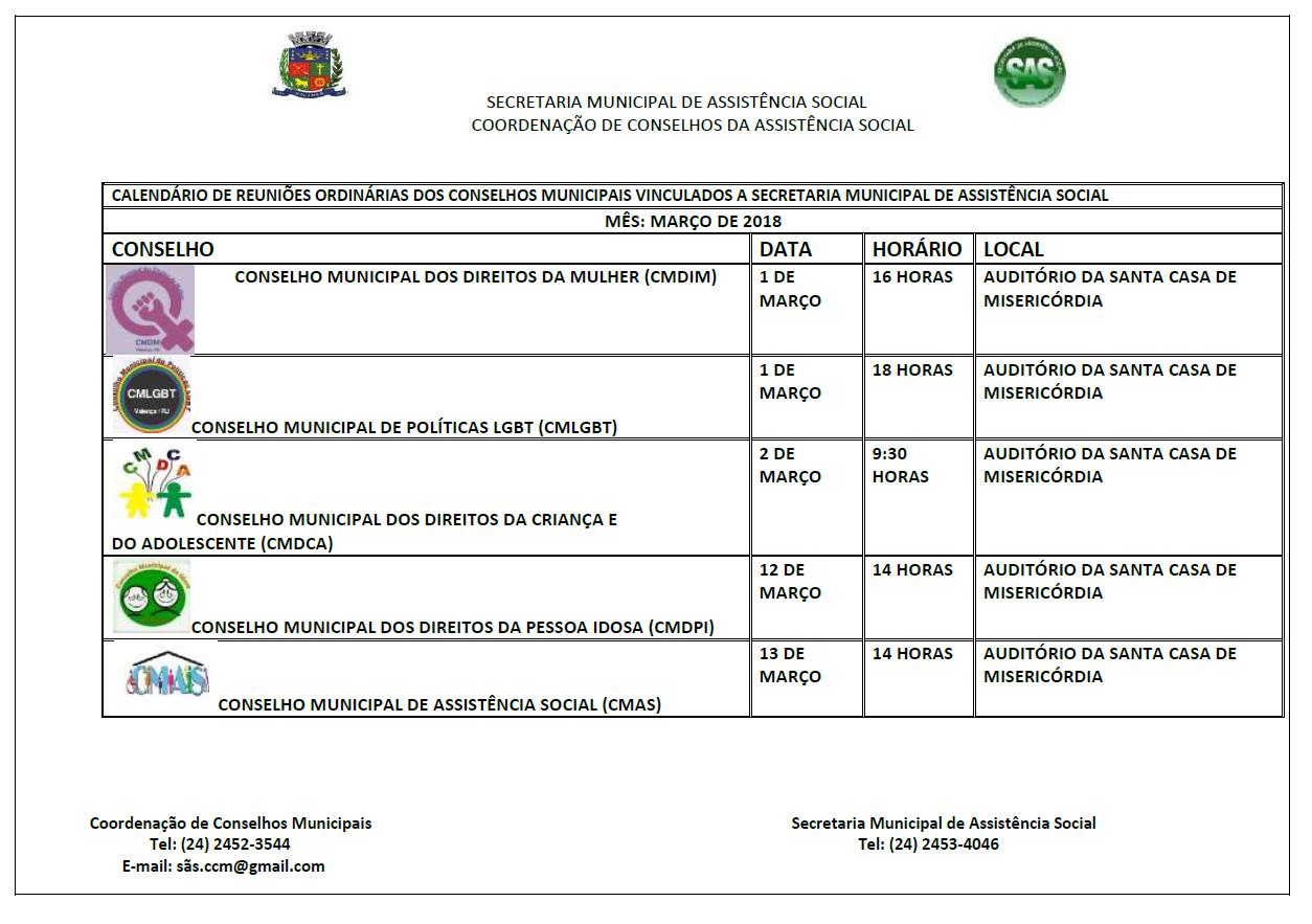 Calendario Social.Calendario De Reunioes Ordinarias Dos Conselhos Municipais